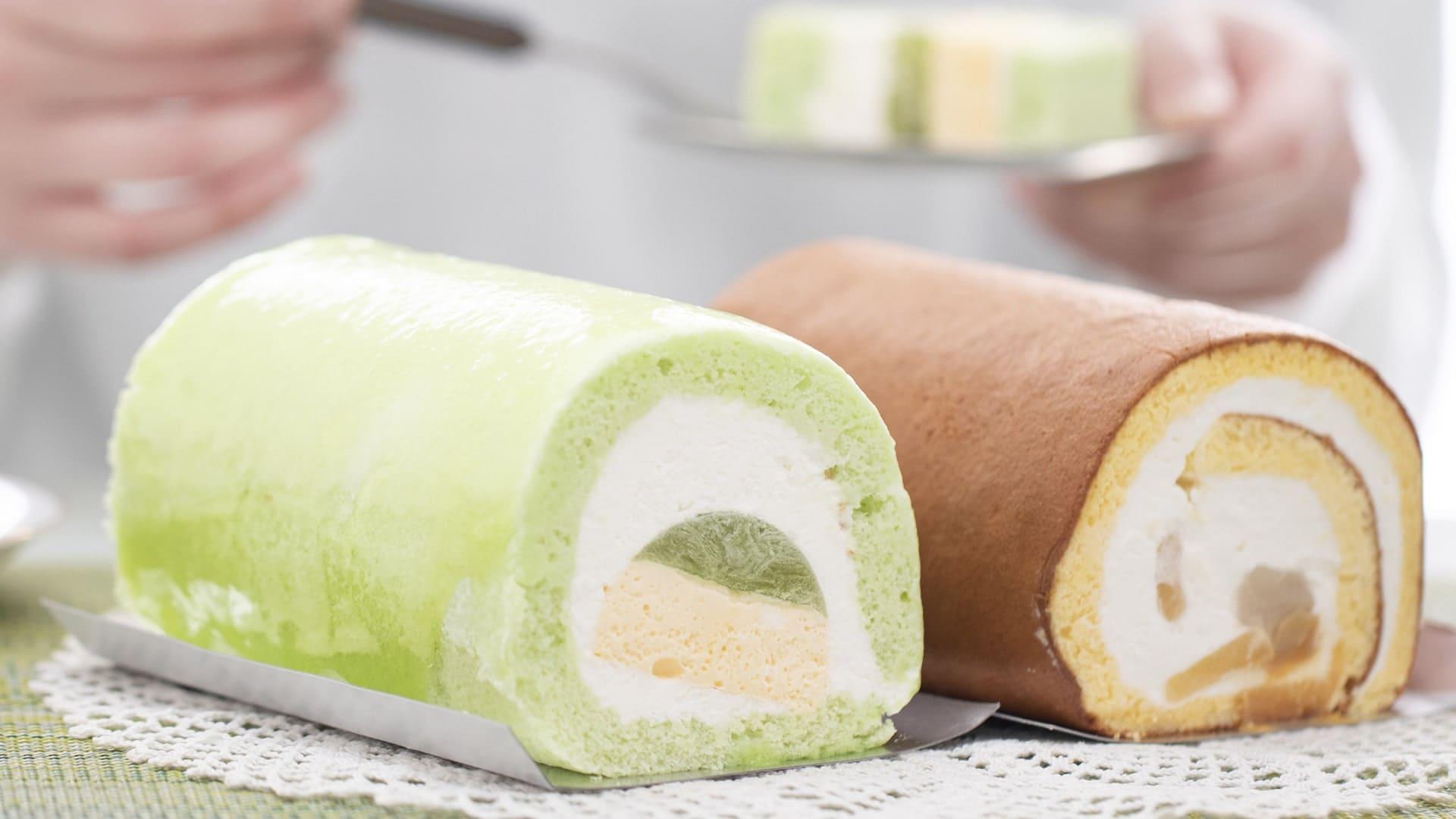 メロンとりんごロールケーキのセット